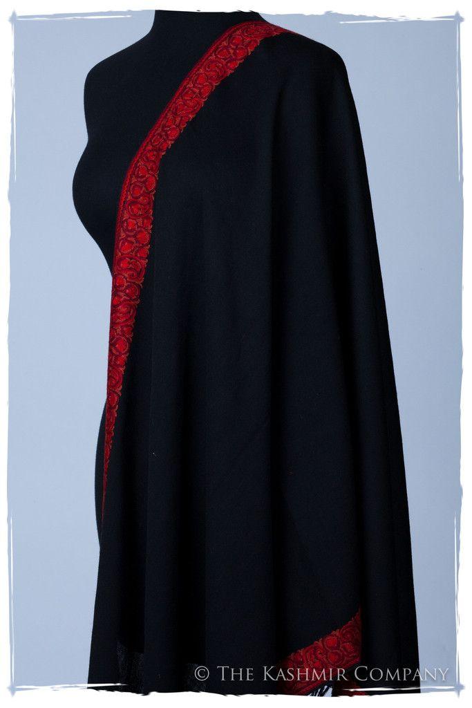 Rouge de Paisley Frontière Noir Mascarade Shawl – Seasons – Kashmir Company