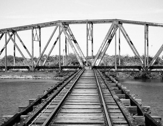 Through Truss Swing Railroad Bridge over Old Brazos River, Freeport, Texas 1126091302BW by Patrick Feller, via Flickr