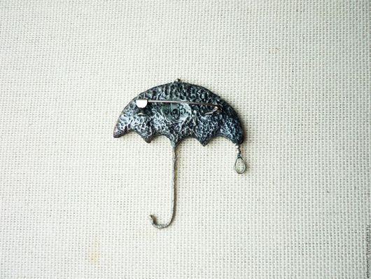 брошь `Зонт`№1 джинсовая; серия `Фантазийные броши`