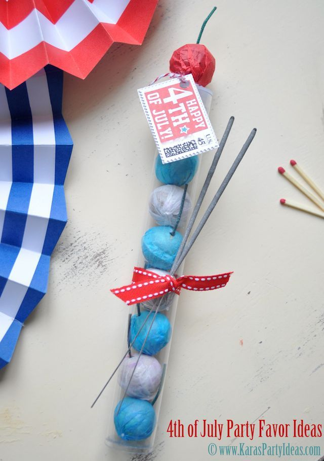 4th of July party favor idea with FREE PRINTABLE TAGS!! Kids would love these. BBQ, etc. Smoke bombs in gumball tubes! Inexpensive tubes available in Kara's Party Ideas shop. Via www.KarasPartyIdeas.com