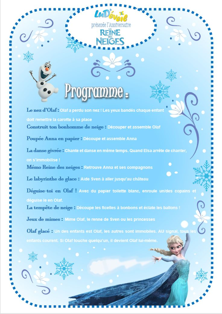 programme activit s anniversaire reine des neiges enfants. Black Bedroom Furniture Sets. Home Design Ideas