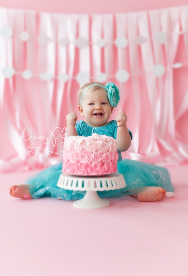Pink ombré cake for baby cake smash