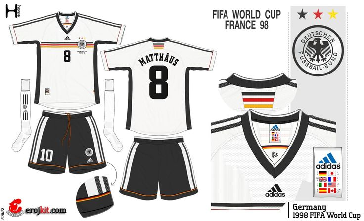 Germany home kit for the 1998 World Cup Finals.