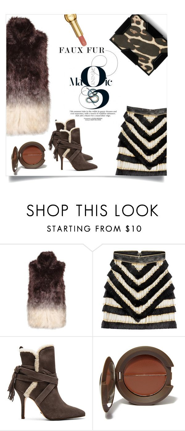 """faux fur animal magic !"" by jenesaisquoilifestyle ❤ liked on Polyvore featuring Baku, Great Plains, Balmain, Schutz, Becca and Lee Savage"