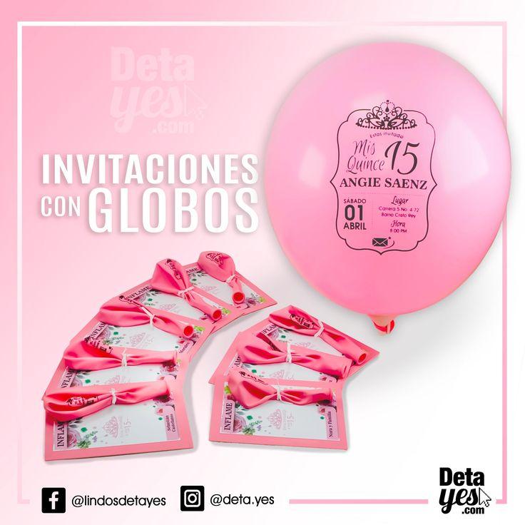 Novedosas Invitaciones con Globos Personalizados somos @deta_yes  , Envíos a Toda Colombia, Pedidos 31856657519
