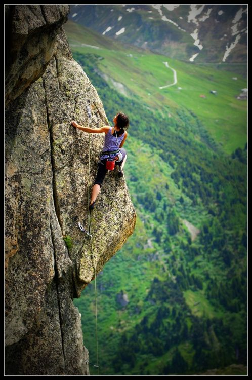 Andrea M. Brunner on a 6a+ sport route in Andermatt, Switzerland