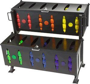 2-Tier Rectangular Bin Rack by Storage. $825.94. 6 bins with closeable tops. built to hold (12) 2.5-lb. dumbbells. (10) 5-lb. dumbbells. (8) 7.5-lb. dumbbels. (6) 10-lb. dumbbels. (4) 12.5-lb. dumbbells and (4) 15-lb. dumbbells. does not include dumbbells. casters sold separately