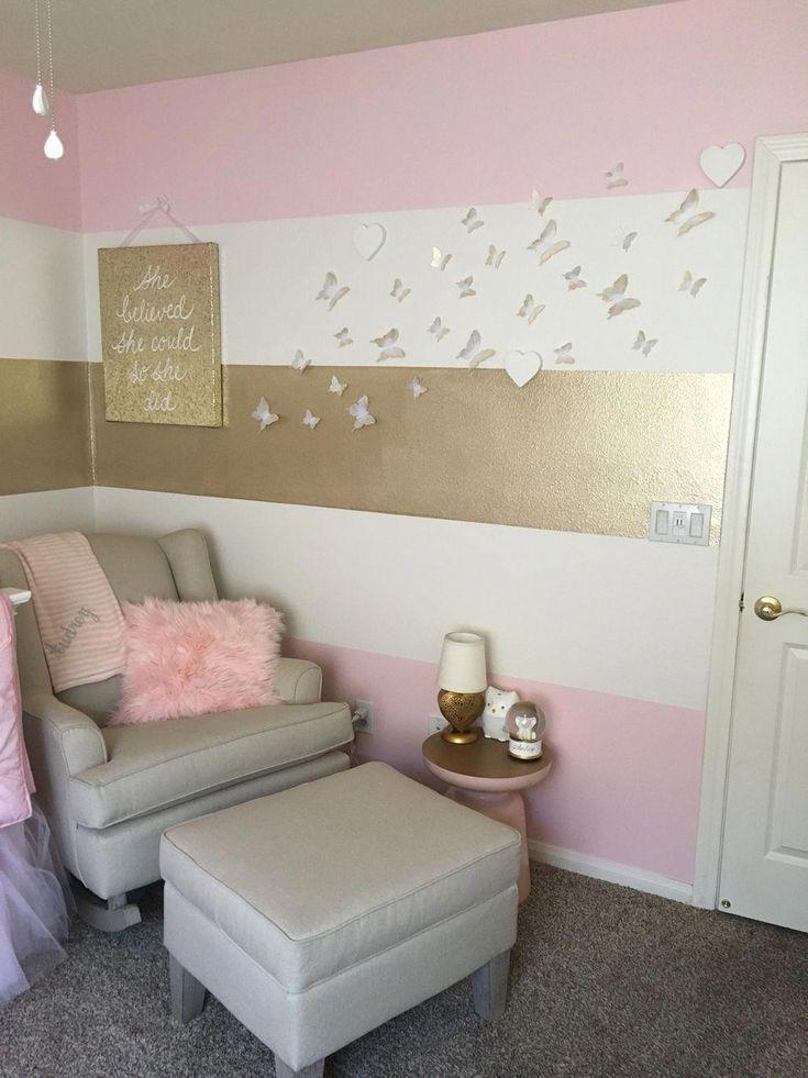 Audrey S Nursery Pink Gold Nursery Babygirl Roomdesign Butterfly Stripes Girl Nursery Room Girls Room Paint Crib Bedding Girl