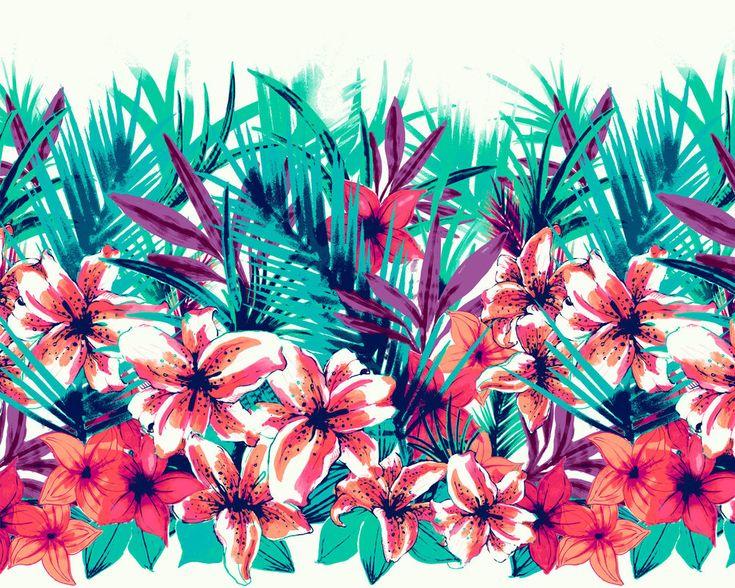 Blue Hawaiian Print Wallpaper Wallpapers For &gt