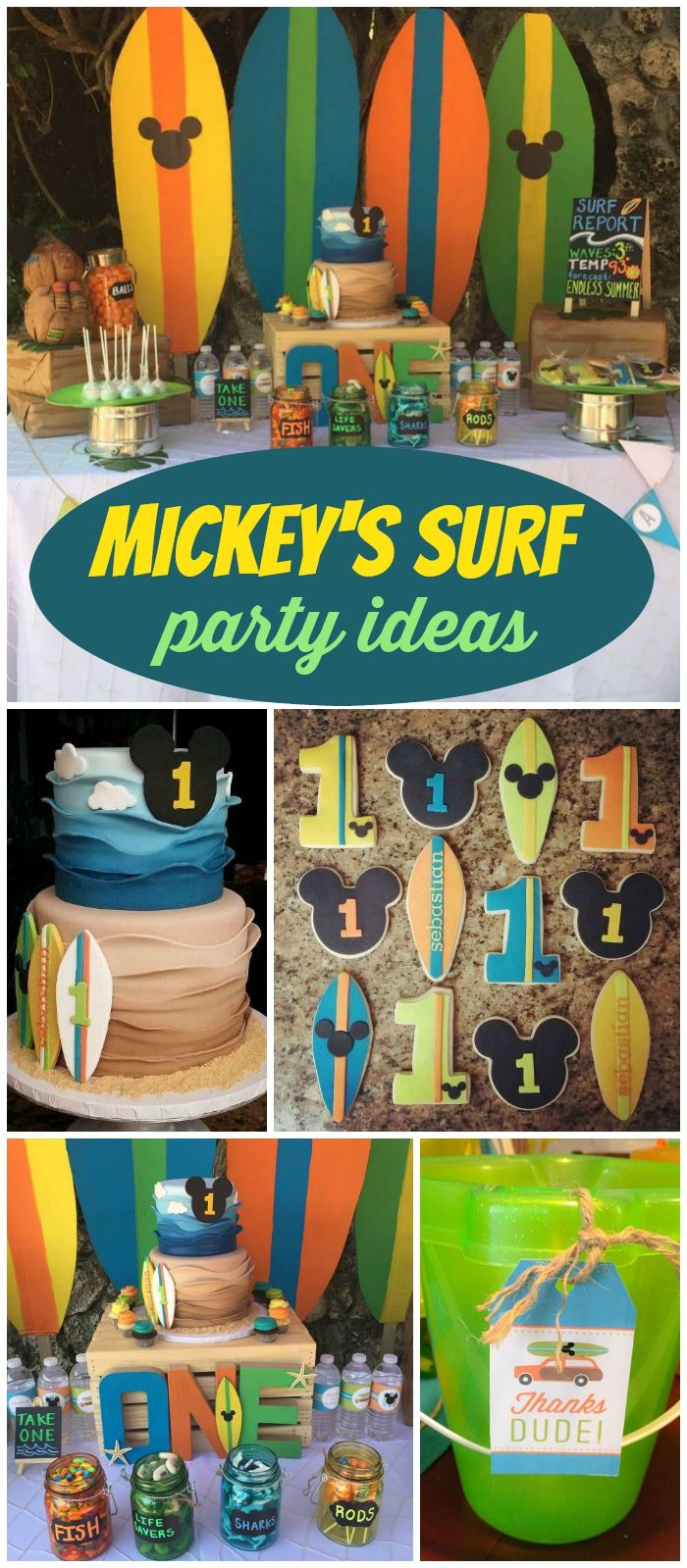 Check out this Mickey Mouse surfing party! See more party ideas at CatchMyParty.com!