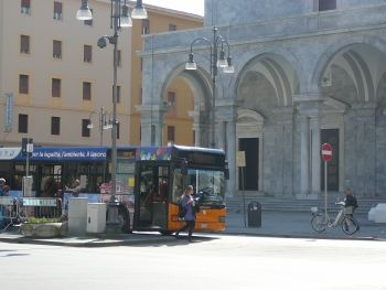 Local Livorno bus in Piazza Grande There is no easier or cheaper way to explore Livorno than by using the local ATL bus service. There are 15 different bus routes covering the whole of the city and the surrounding districts, and for just €3 (the cost of  a one-day Livorno Card) you can get unlimited local bus travel for a whole day, hopping on and off any bus whenever and wherever you please (plus free entrance to local museum and art gallery).