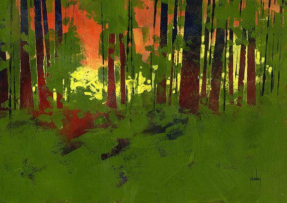 Pintura original paisaje semiabstractas - Lay inmóvil y silencioso