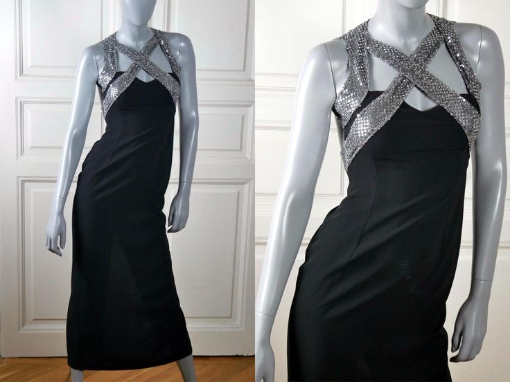 Vintage Disco Dress, Black Evening Dress w Silver Sequin Crisscross Straps: Size 4 (US), 8 (UK) by YouLookAmazing on Etsy