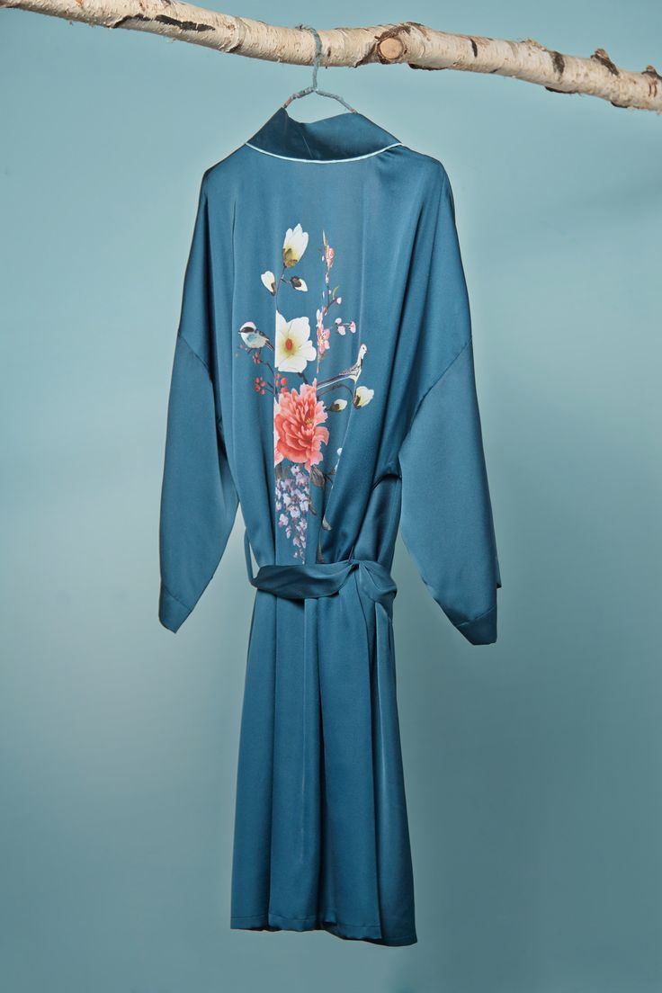 Asian inspired, floral printed dressing gown by Carolyn Donnelly Eclectic