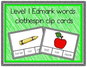 Picture Clip Cards Using Edmark Level 1 Words