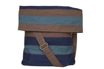 Milloe Messenger Bag In Teal, Navy and Brown. $88.00