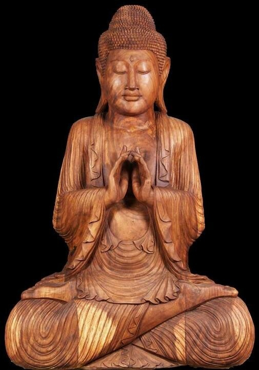 Buddha carved from wood with exquisite folds on his garment