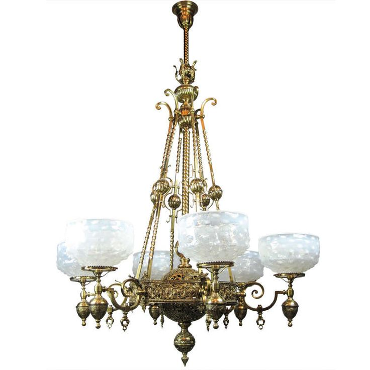 1885 An Outstanding Romanesque Style Six Light Converted Chandelier From The Golden Era Of Early American Gas Lighting