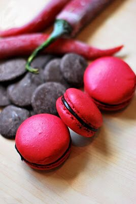 Dark Chocolate Chili Macaron w/ ( Dark Chocolate Chili Ganache) from lovemyfoodsandsugar.blogspot.ca