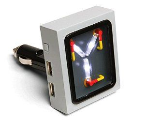 Flux Capacitor USB car charger with working, flickering lights. SO COOL. [Disclosure: this is an affiliate link. Please read on: Lawicki is a participant in the Amazon Services LLC Associates Program, an affiliate advertising program designed to provide a means for sites to earn advertising fees by advertising and linking to amazon.com.]