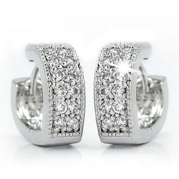 Women Sparkling V Shaped Rhinestone CZ Diamond Earrings Set Charm Wedding Bridal Jewelry 2016 Charms Jewelry E241