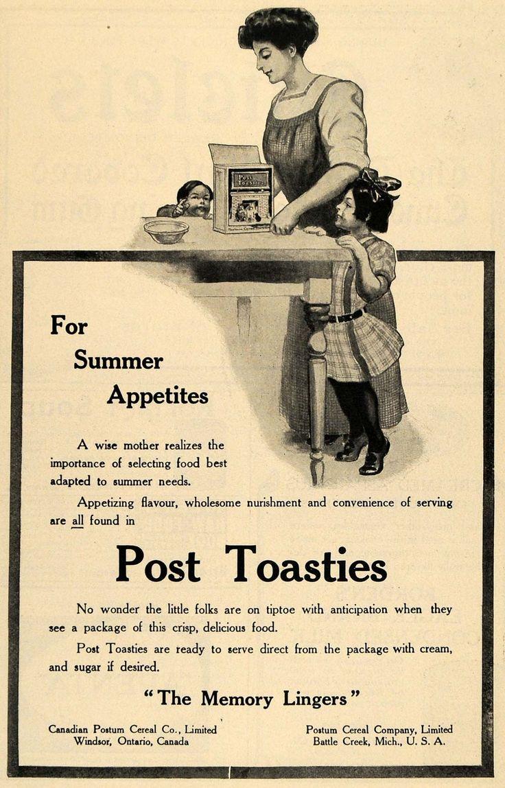1911 Ad Mother Girl Post Toasties Postum Cereal Company - ORIGINAL TOM1