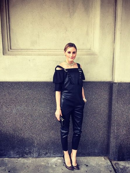 Olivia Palermo in leather overalls