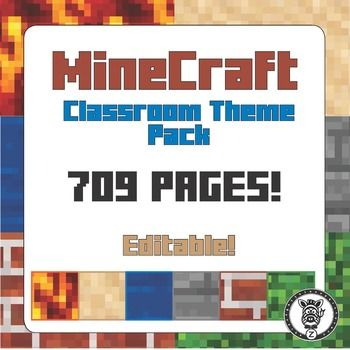 Full classroom organization/ decoration theme pack to make your classroom look like the game Minecraft!