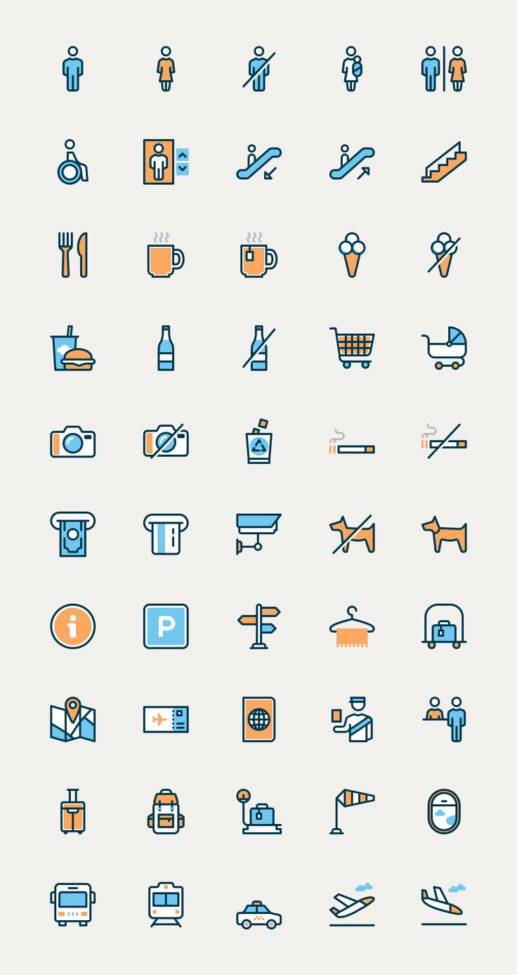 Wayfinding snd airport icons in filled outline style. My first experiment in this style.