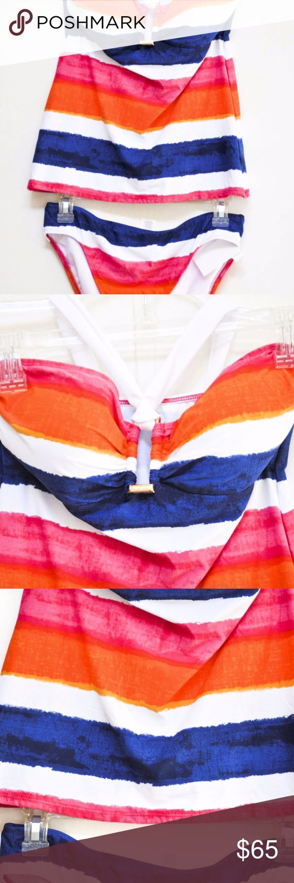 Lauren Ralph Lauren Women Tankini size 8 Swim Handpainted Striped Ring.  Molded cups offer the perfect amount of coverage for a flawless look.   Molded cups goldtone detailing nylon/elastane hand wash Lauren Ralph Lauren Swim