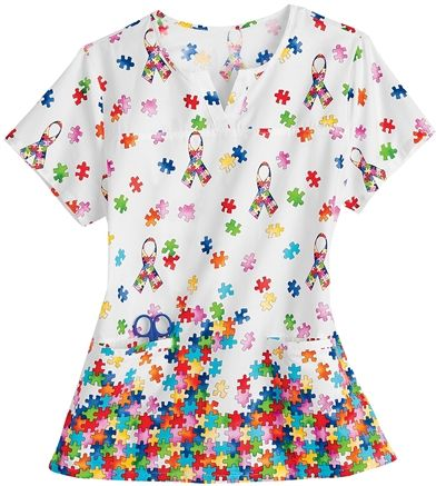 Autism Awareness Scrubs - Trust Your Journey 100% Cotton 1 In 88 Notch Neck Scrub Top