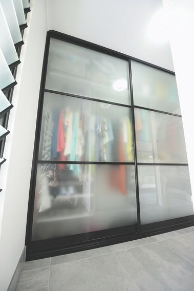 Bedroom Sliding Doors With Frosted Glass Panel And Black