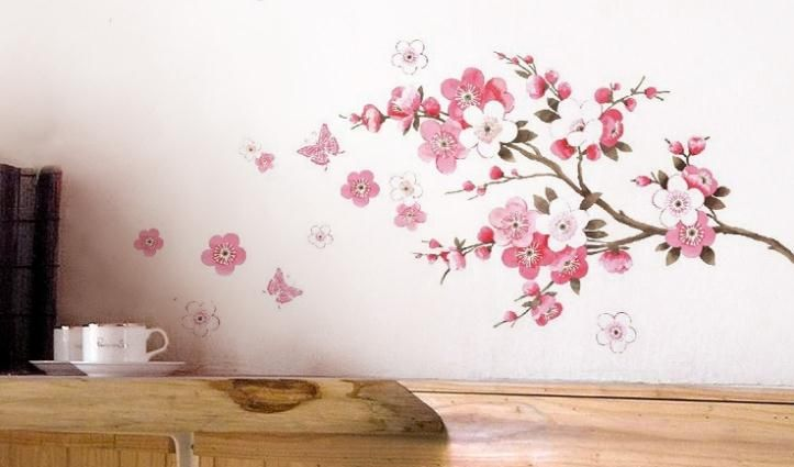 Peach Bloom Vinyl Wall Stickers Pink Home Decoration Wall Decals for Kids Nursery Living Rooms Free Shipping