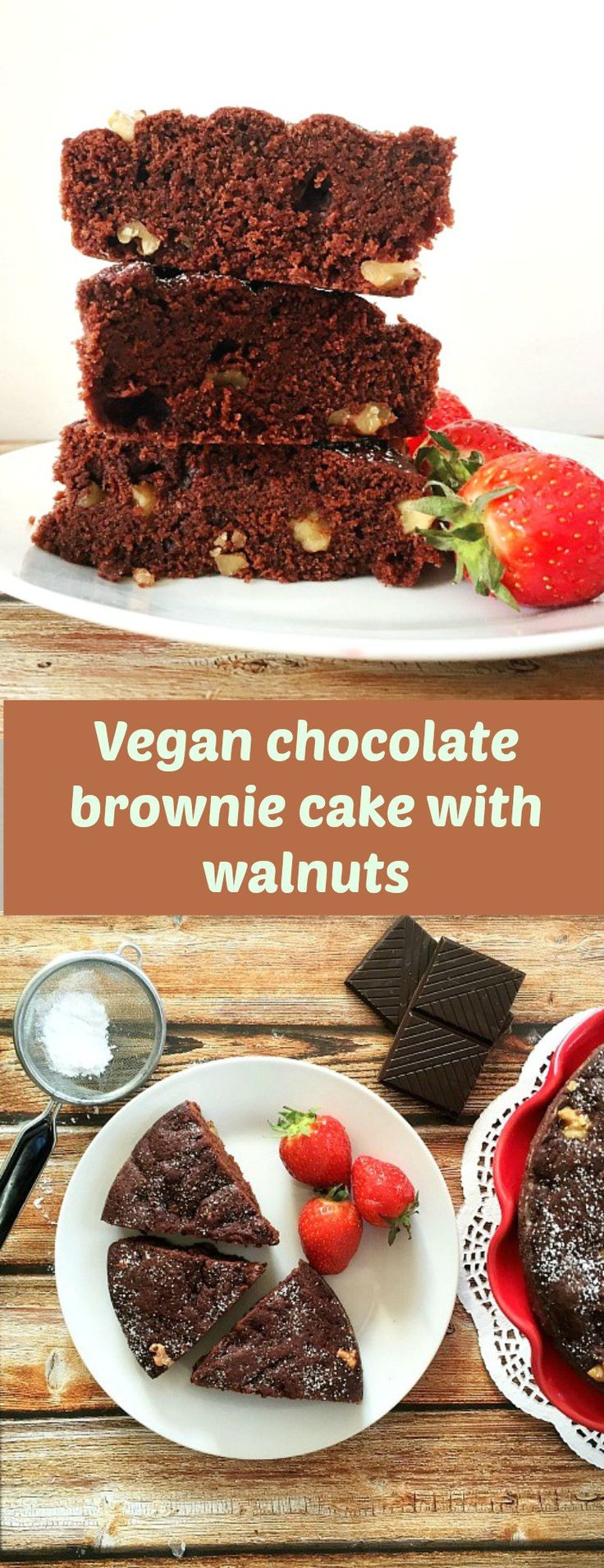 Vegan chocolate brownie cake with walnuts, the much-loved chocolate brownie recipe, but egg and diary free. How good is that? Treat yourself to a guilt-free dessert.