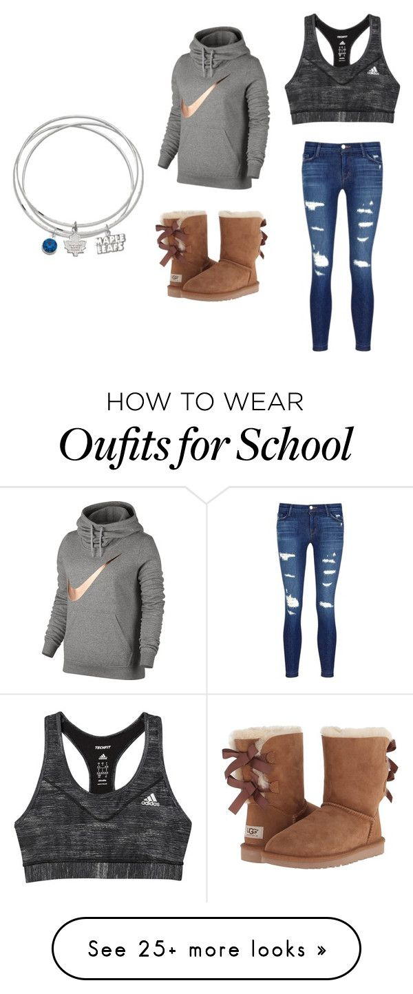 """School"" by mrsbieber123-396 on Polyvore featuring NIKE, UGG, J Brand, adidas and LogoArt"