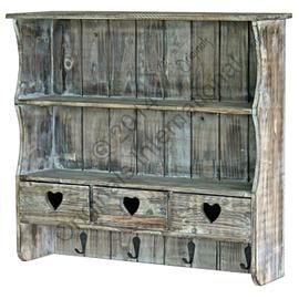 Reclaimed Wood Heart Drawers Cabinet