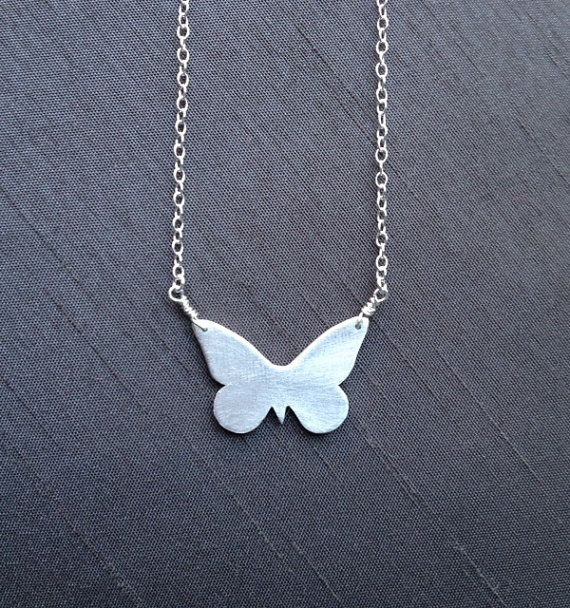 """Silver Butterfly Pendant by BitsofSilver ;handcrafted in fine silver(.999%) and hangs on a 16""""sterling silver chain.A perfect gift for the butterfly lover! ($40)"""