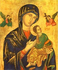 """A imagem original de Nossa Senhora do Perpétuo Socorro é um """"Ícone"""", ou seja, é a representação de um mistério através de uma pintura rica de simbolismos e significados. A imagem é uma obra de arte pintada em nogueira. Mede 41,5 x 53cm e o fundo da pintura é folheado a ouro. O venerado ícone está em Roma desde o ano 1499, na igreja de Santo Afonso de Ligório, que foi um grande devoto da Virgem Maria."""