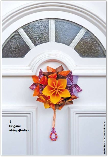 Ajtódísz - virág origami.
