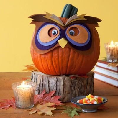 No-carve Halloween pumpkin crafts: Craft a mask for your owl pumpkin with felt