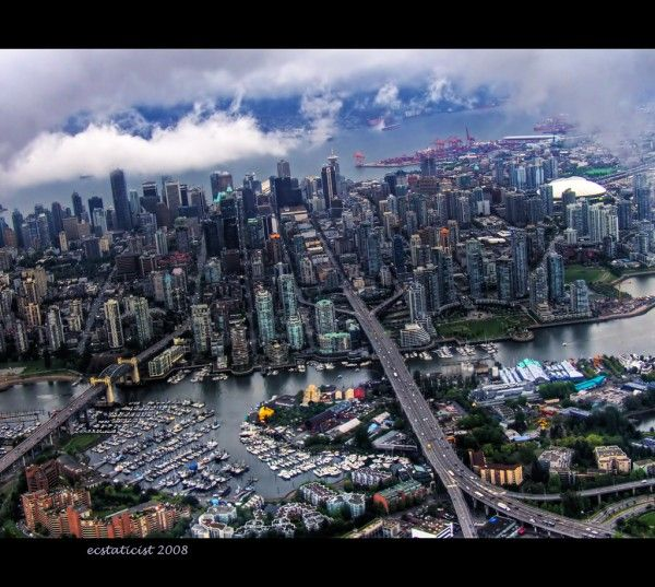 Another great shot of part of downtown Vancouver- this is where I was born and raised until 16, to the left of the bridges, 3 blocks from English Bay..I miss it sometimes!