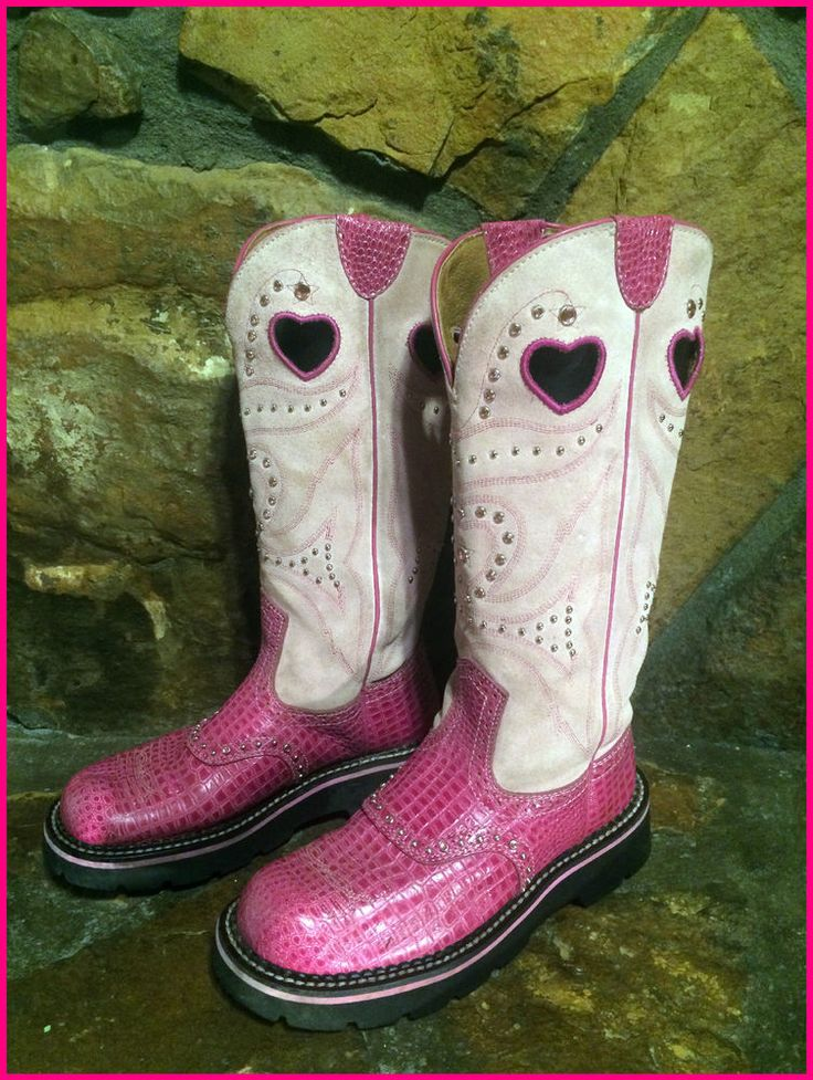 Ariat 15113 Pink Tall Heart Fatbaby Leather Cowboy Boots
