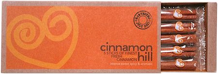 """Five 5-inch sticks of Saigon cinnamon. """"Not only is the harvest date marked on each box, but each individual cinnamon stick is wrapped separately preserve it's freshness and flavor. They've just taken delivery of the Summer harvest in Vietnam so their stock is really fresh."""""""