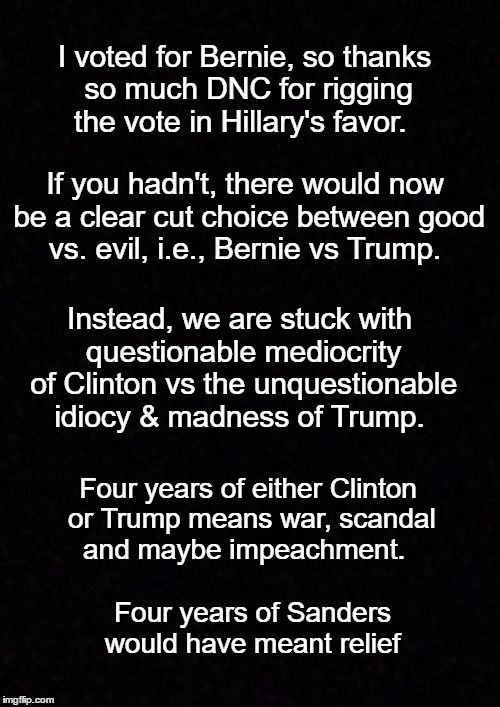 I voted for Bernie, so thanks so much DNC for rigging the vote in Hillary's favor.   If you hadn't, there would now be a clear cut choice between good vs. evil, i.e., Bernie vs Trump.   Instead, we are stuck with questionable mediocrity of Clinton vs the unquestionable idiocy & madness of Trump.   Four years of either Clinton or Trump means war, scandal and maybe impeachment.   Four years of Sanders would have meant relief