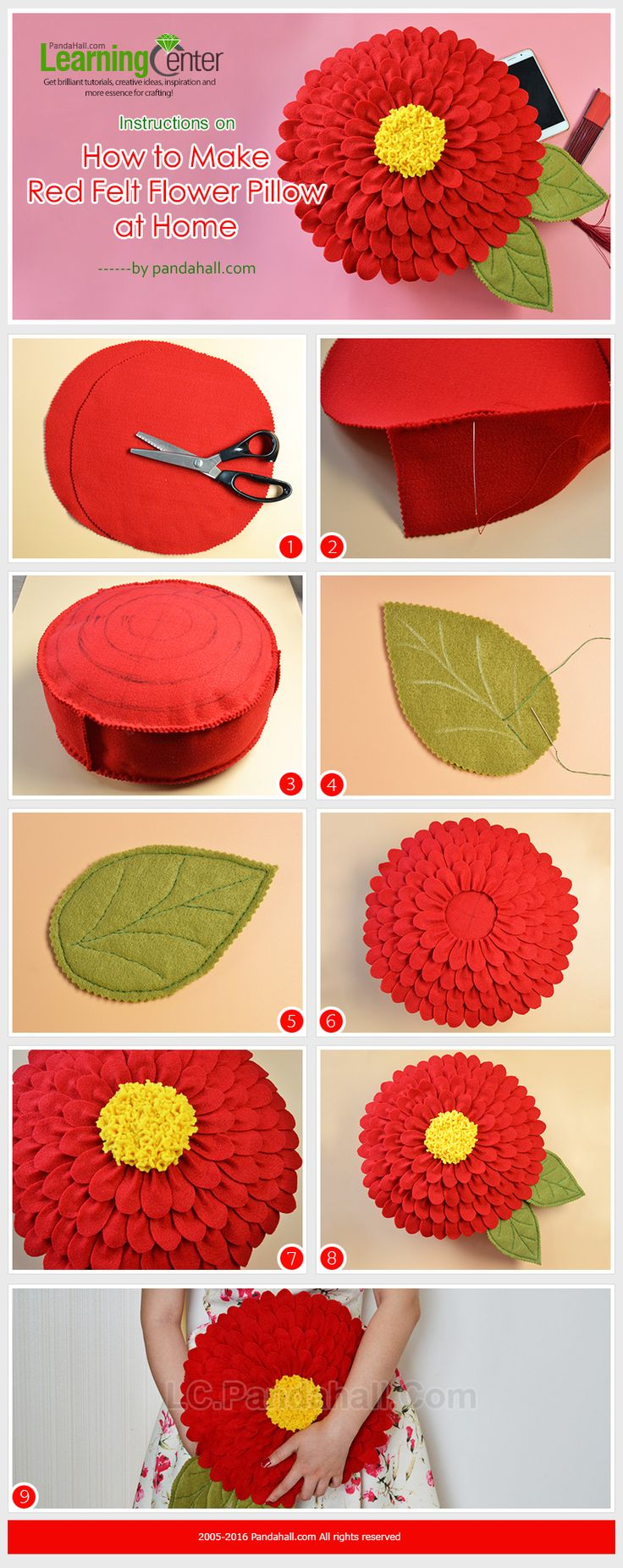Instructions on How to Make Red Felt Flower Pillow at Home from LC.Pandahall.com