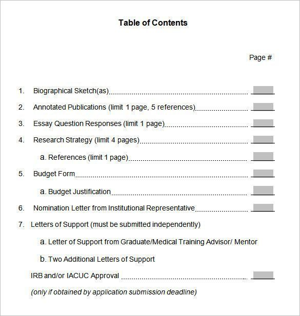 Table Of Content Template Luxury 24 Pdf Doc 33 More T Page Word Essay Contents