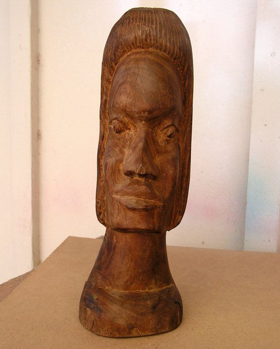 Vintage tribal wood carving statue hand carved wooden
