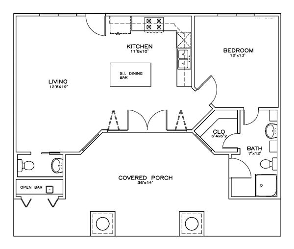 first floor plan of cottage craftsman house plan 59356