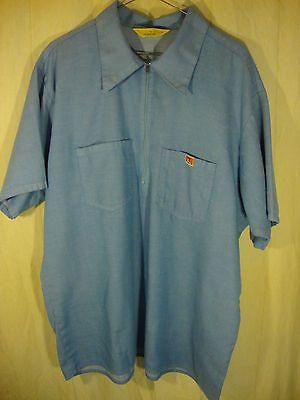 Vintage Ben Davis Solid Blue Gorilla 1/3 Zip Work Wear Rockabilly Usa Shirt Xl!