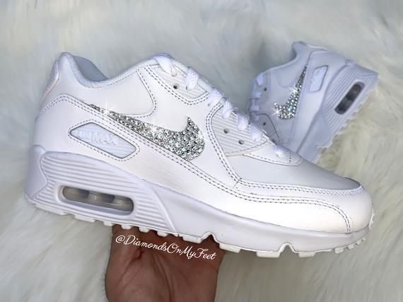 Swarovski Women's Nike Air Max 90 All White Sneakers Blinged